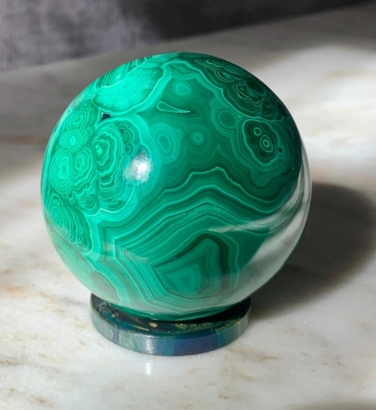 Russian Solid Malachite Sphere Paperweight on Malachite Disk For Sale