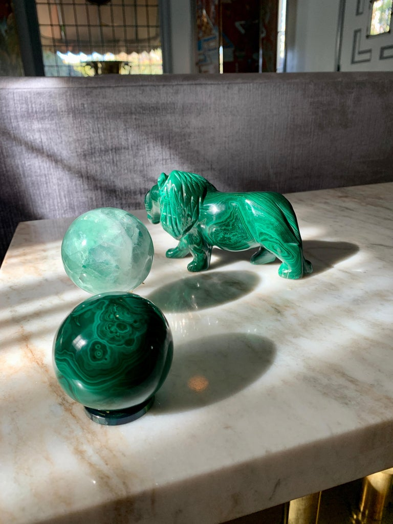 Solid Malachite Sphere Paperweight on Malachite Disk In Good Condition For Sale In Los Angeles, CA