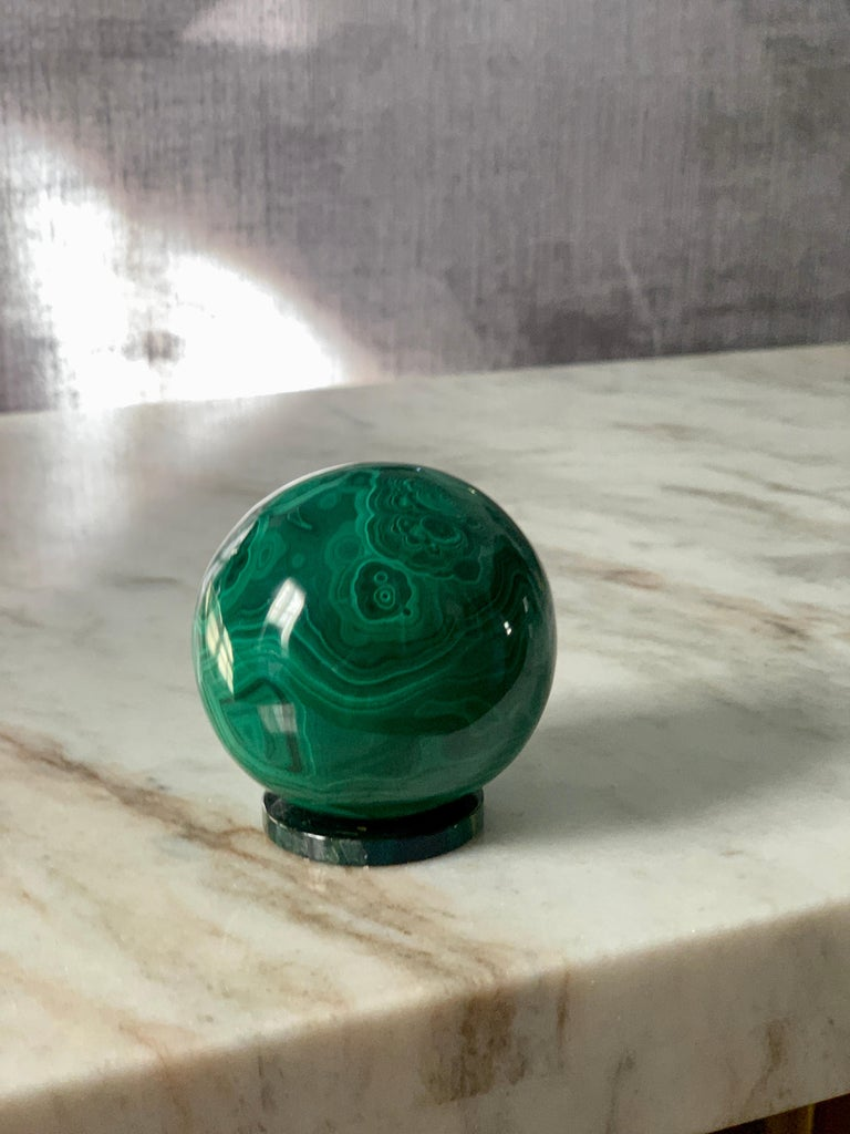 20th Century Solid Malachite Sphere Paperweight on Malachite Disk For Sale