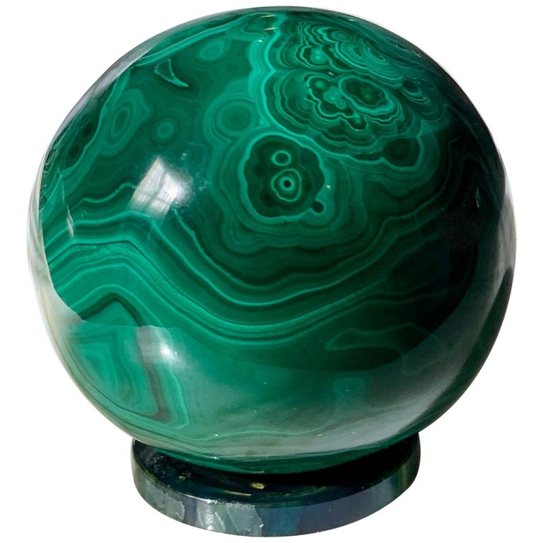 Solid Malachite Sphere Paperweight on Malachite Disk For Sale
