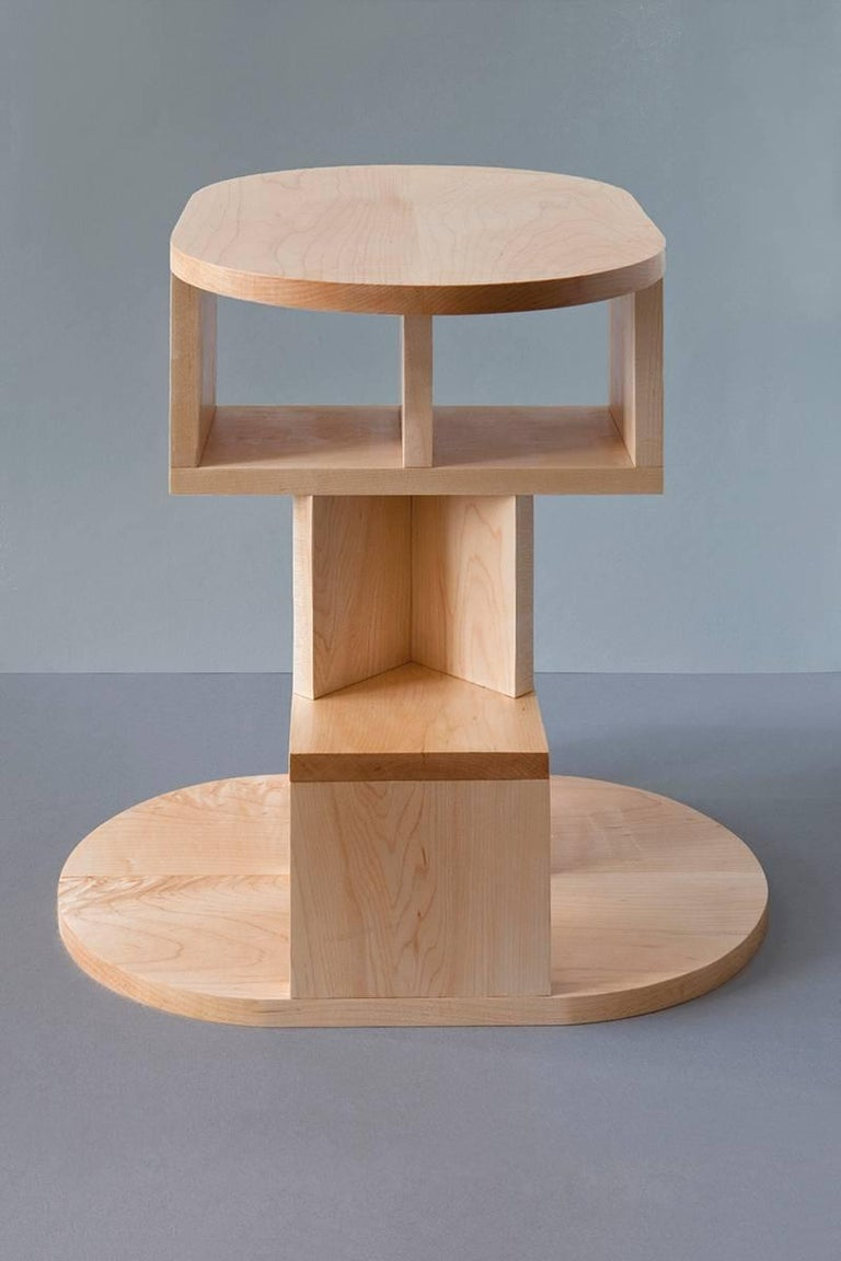 Post-Modern Solid Maple Double Pyramid Side Table For Sale
