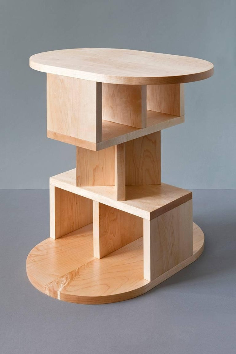 Dutch Solid Maple Double Pyramid Side Table For Sale