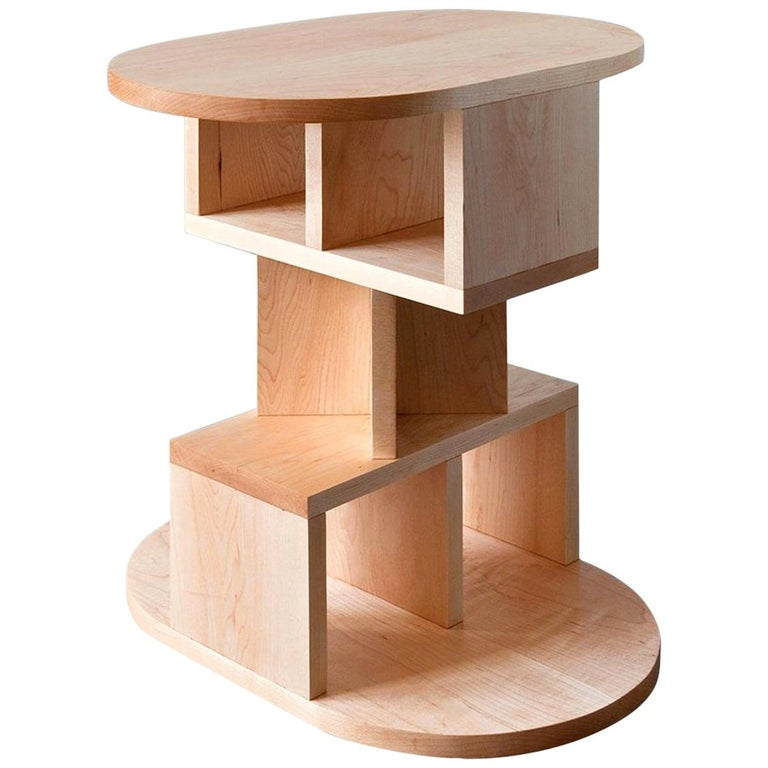 Solid Maple Double Pyramid Side Table For Sale