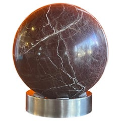 Solid Marble Decorative Sphere on Chrome Base