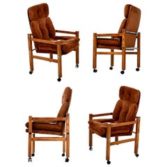 Solid Oak 1970s Modern Tufted Velour High Back Armchairs with Chrome Accents