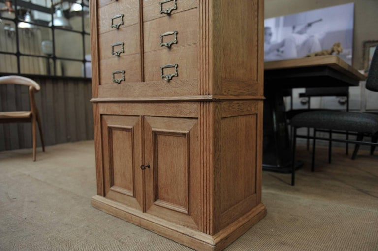 Solid Oak Notarial Sliding doors and drawer System  Cabinet circa 1900 For Sale 3