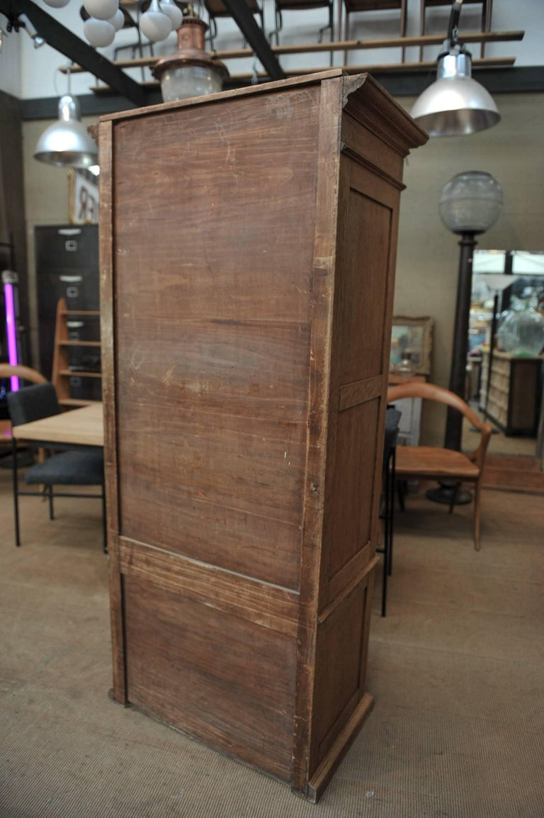 Solid Oak Notarial Sliding doors and drawer System  Cabinet circa 1900 For Sale 4