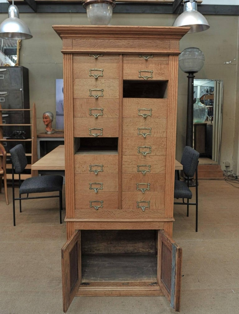 Art Nouveau Solid Oak Notarial Sliding doors and drawer System  Cabinet circa 1900 For Sale