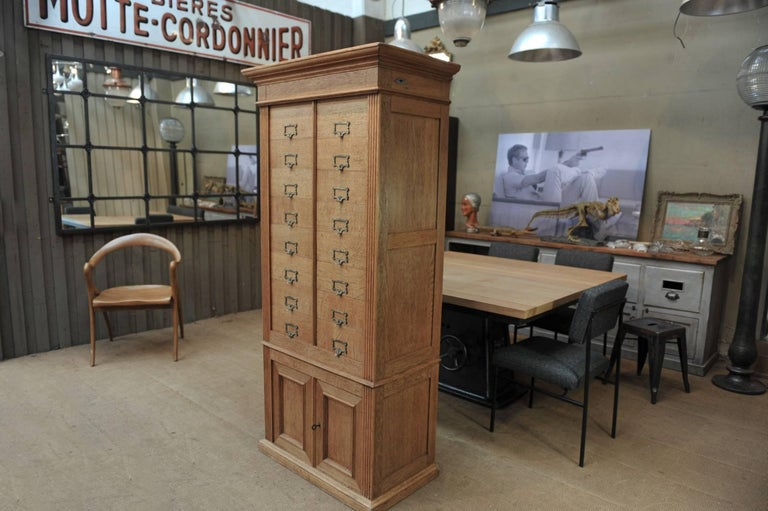 French Solid Oak Notarial Sliding doors and drawer System  Cabinet circa 1900 For Sale