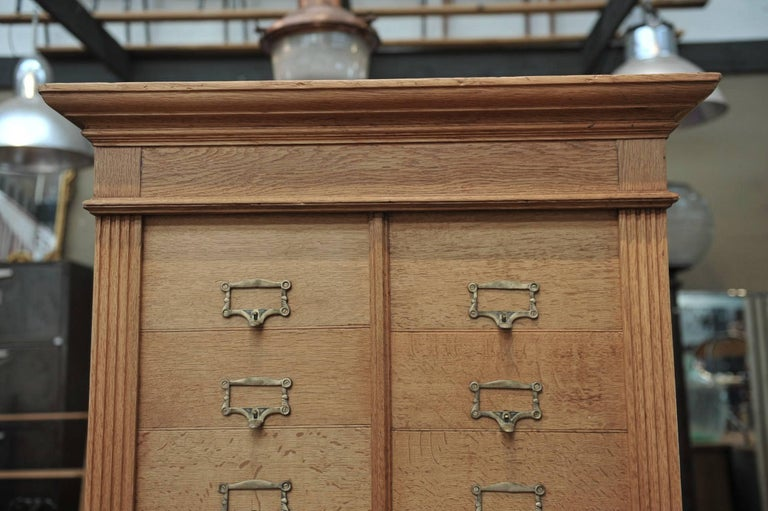 Early 20th Century Solid Oak Notarial Sliding doors and drawer System  Cabinet circa 1900 For Sale
