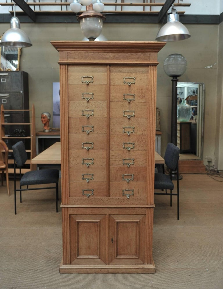Brass Solid Oak Notarial Sliding doors and drawer System  Cabinet circa 1900 For Sale