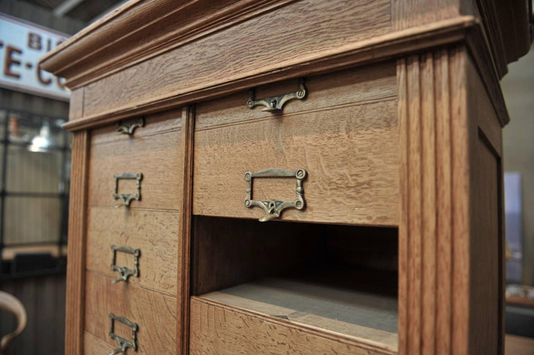 Solid Oak Notarial Sliding doors and drawer System  Cabinet circa 1900 For Sale 2