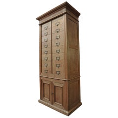 Solid Oak Notarial Sliding doors and drawer System  Cabinet circa 1900