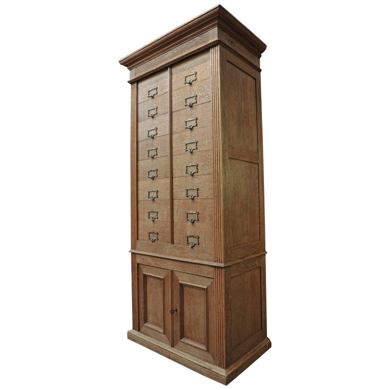 Solid Oak Notarial Sliding doors and drawer System  Cabinet circa 1900 For Sale