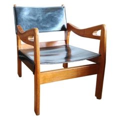 Solid Oak Armchair by Guillerme & Chambron, France, 1960's