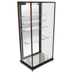 Solid Oak Art Deco Era Cube Shape Adjustable Shelves Show Case Vitrine