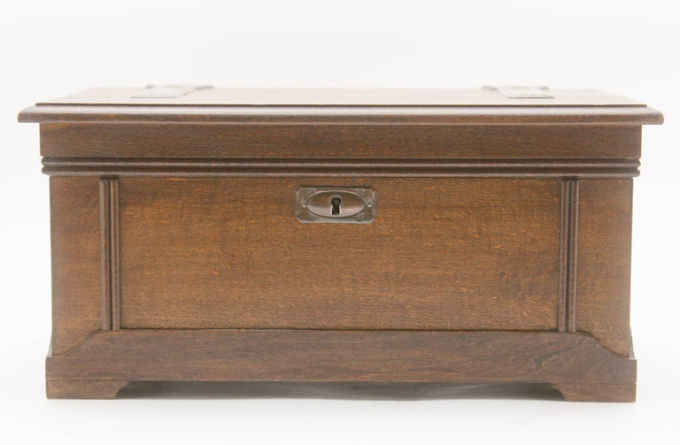 Arts and Crafts Solid Oak Arts & Crafts Box with Decorative Brass Work, circa 1930 For Sale