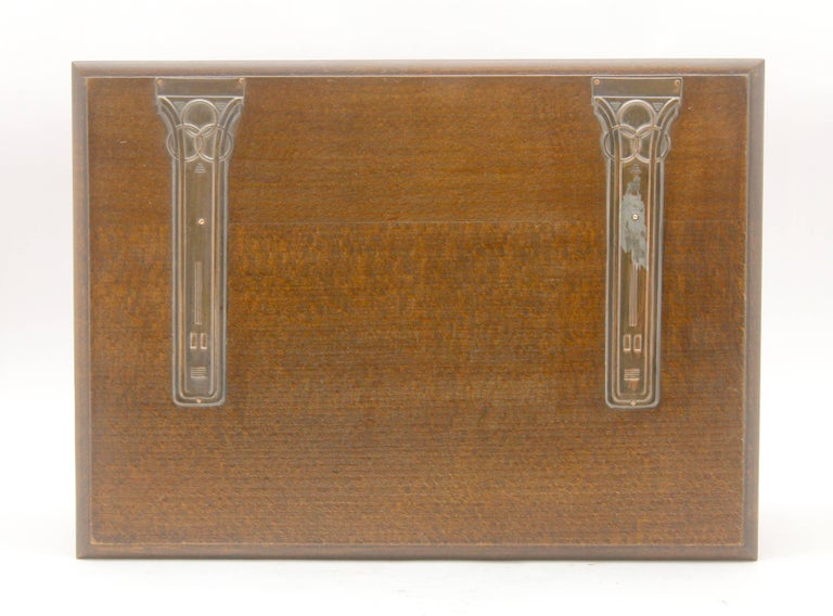 Austrian Solid Oak Arts & Crafts Box with Decorative Brass Work, circa 1930 For Sale