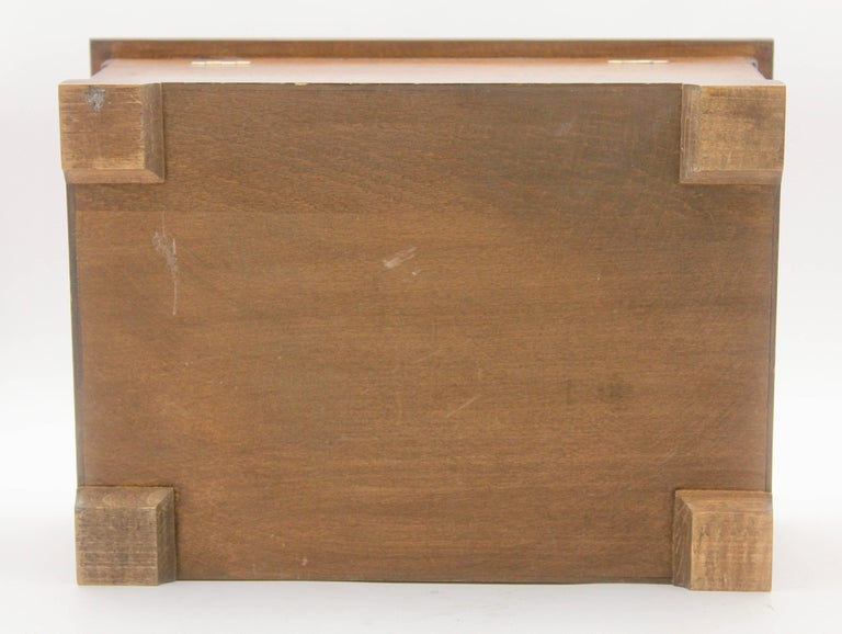 Hand-Crafted Solid Oak Arts & Crafts Box with Decorative Brass Work, circa 1930 For Sale