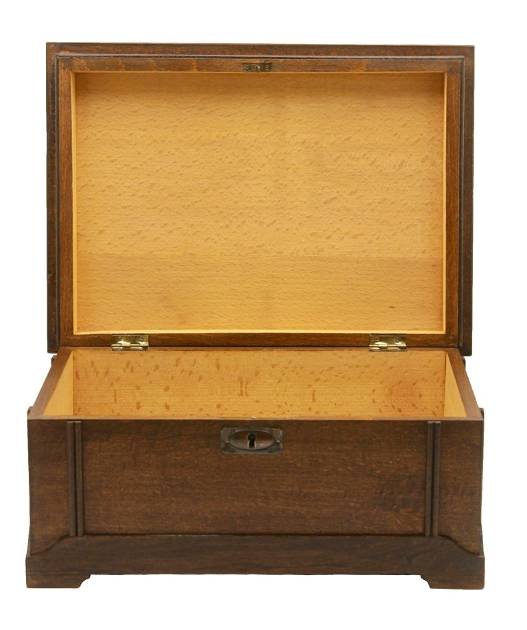 Mid-20th Century Solid Oak Arts & Crafts Box with Decorative Brass Work, circa 1930 For Sale