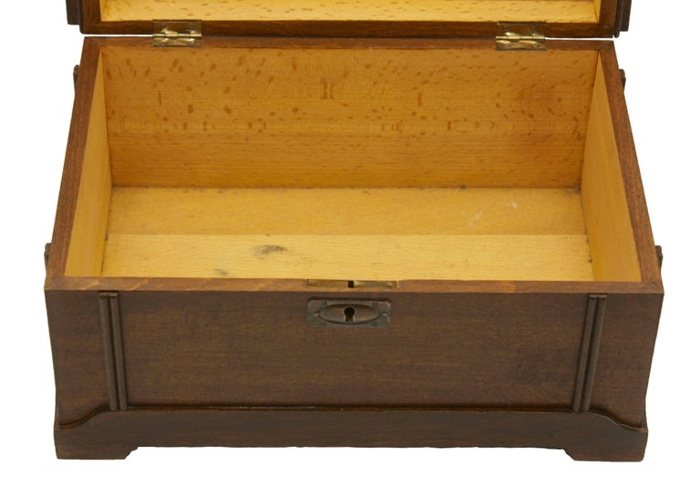 Solid Oak Arts & Crafts Box with Decorative Brass Work, circa 1930 For Sale 1