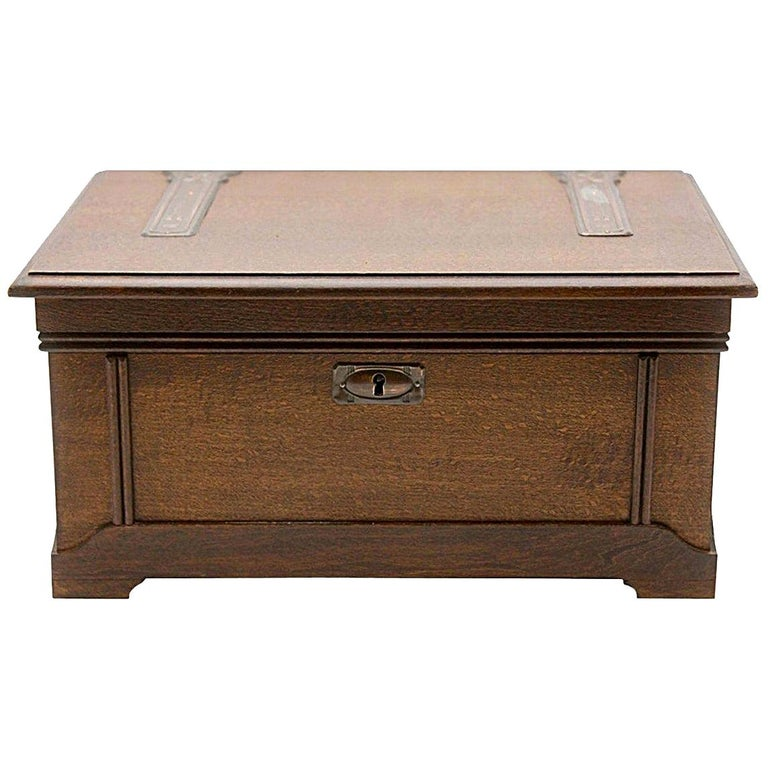 Solid Oak Arts & Crafts Box with Decorative Brass Work, circa 1930 For Sale