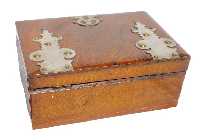 Arts and Crafts Solid Oak Arts & Crafts Box with Decorative Metal Work, circa 1890 For Sale