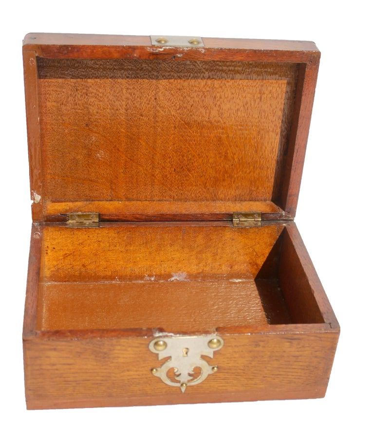 Austrian Solid Oak Arts & Crafts Box with Decorative Metal Work, circa 1890 For Sale