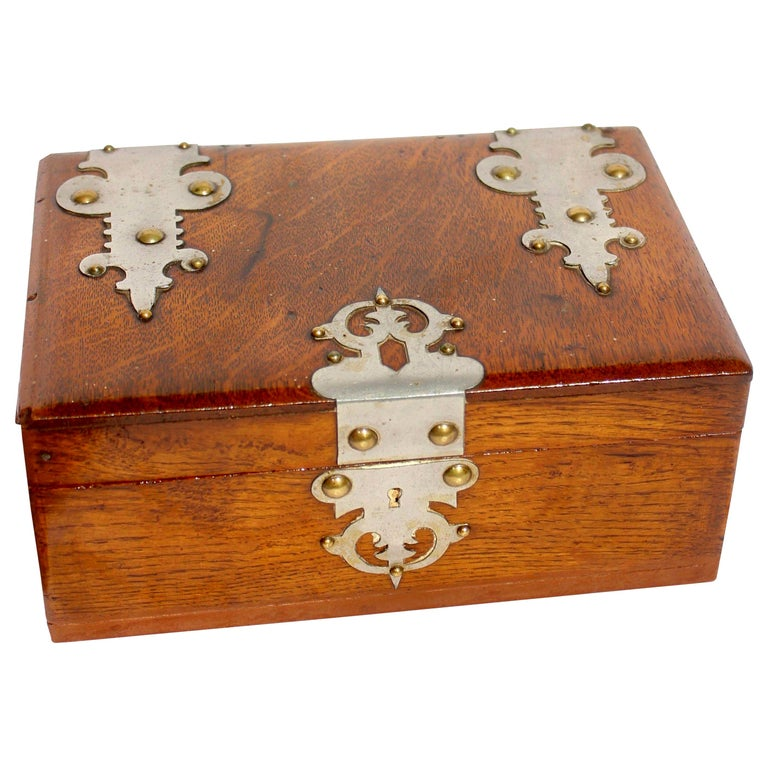 Solid Oak Arts & Crafts Box with Decorative Metal Work, circa 1890 For Sale