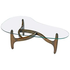 Solid Oak Base Amorphic Kidney Bean Adrian Pearsall Coffee Table with New Glass