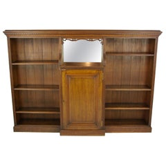 Solid Oak Bookcase, Open Bookcase, Victorian Tiger Oak, Scotland, 1890, B1192