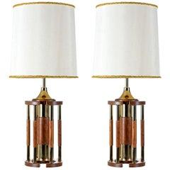 Solid Oak Brass Pillar Rotunda Table Lamps, circa 1970s