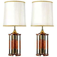 Solid Oak Brass Pillar Rotunda Table Lamps, circa 1970s