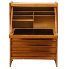 Solid Oak Cabinet and Desk by Guillerme et Chambron, France, 1960's