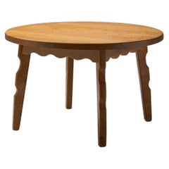 Solid Oak Coffee Table with Sculptural Legs by Danish Cabinetmaker, DK, 1950s