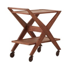 Solid Oak Drinks Trolley, Italy, circa 1950