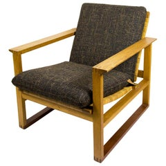Solid Oak and Cane Garden Armchair by Børge Mogensen for Fredericia, 1960s