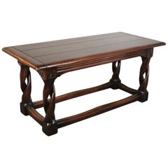 Solid Oak Gothic Library / Centre Table Hand Carved and Pegged, circa 1900-1910