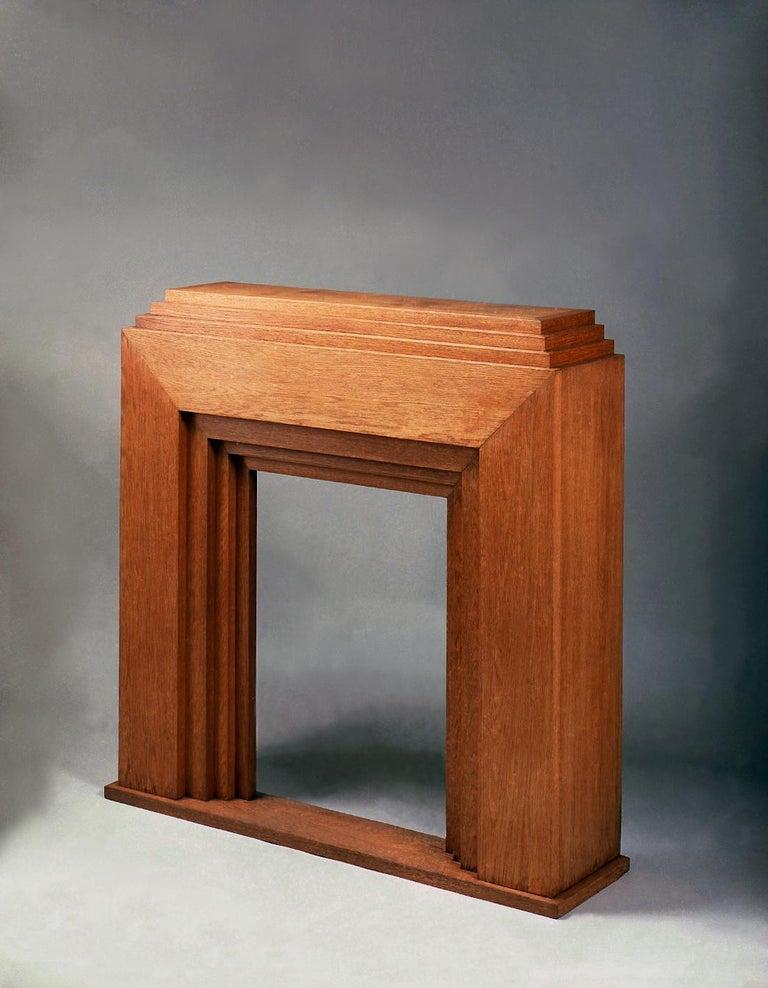 European Solid Oak Mantelpiece by Djo Bourgeois, circa 1935 For Sale