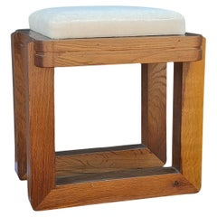Solid Oak Modernist Stool with White Mohair Cushion, France, 1970's
