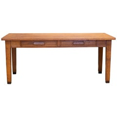 Solid Oak Two-Drawer Desk with Brass Feet, circa 1940