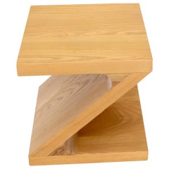 Solid Oak Z-Shape End Side Table Stand