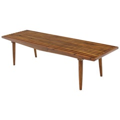 Solid Oiled Slat Wood Bench