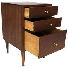 Solid Oiled Walnut Brass McCobb Pulls Three-Drawer Stand End Table