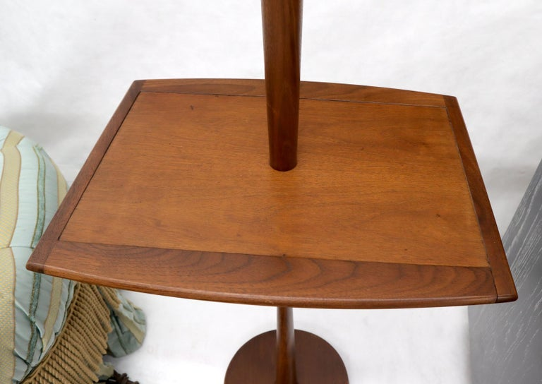 20th Century Solid Oiled Walnut End Side Table Tapered Base Floor Lamp For Sale