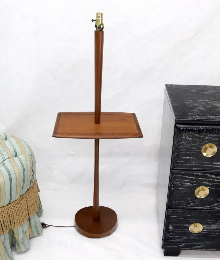 Solid Oiled Walnut End Side Table Tapered Base Floor Lamp For Sale 1