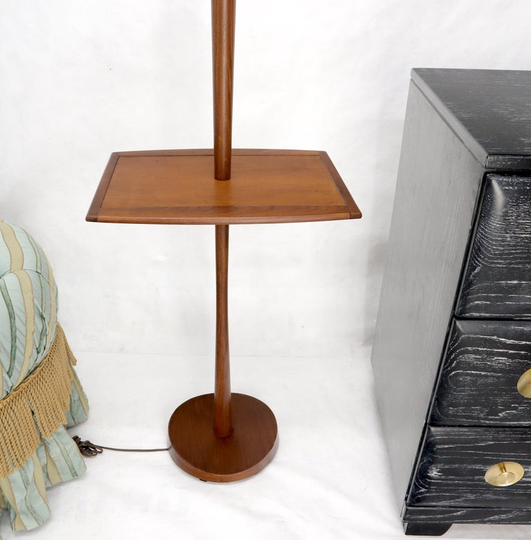 Solid Oiled Walnut End Side Table Tapered Base Floor Lamp For Sale 2