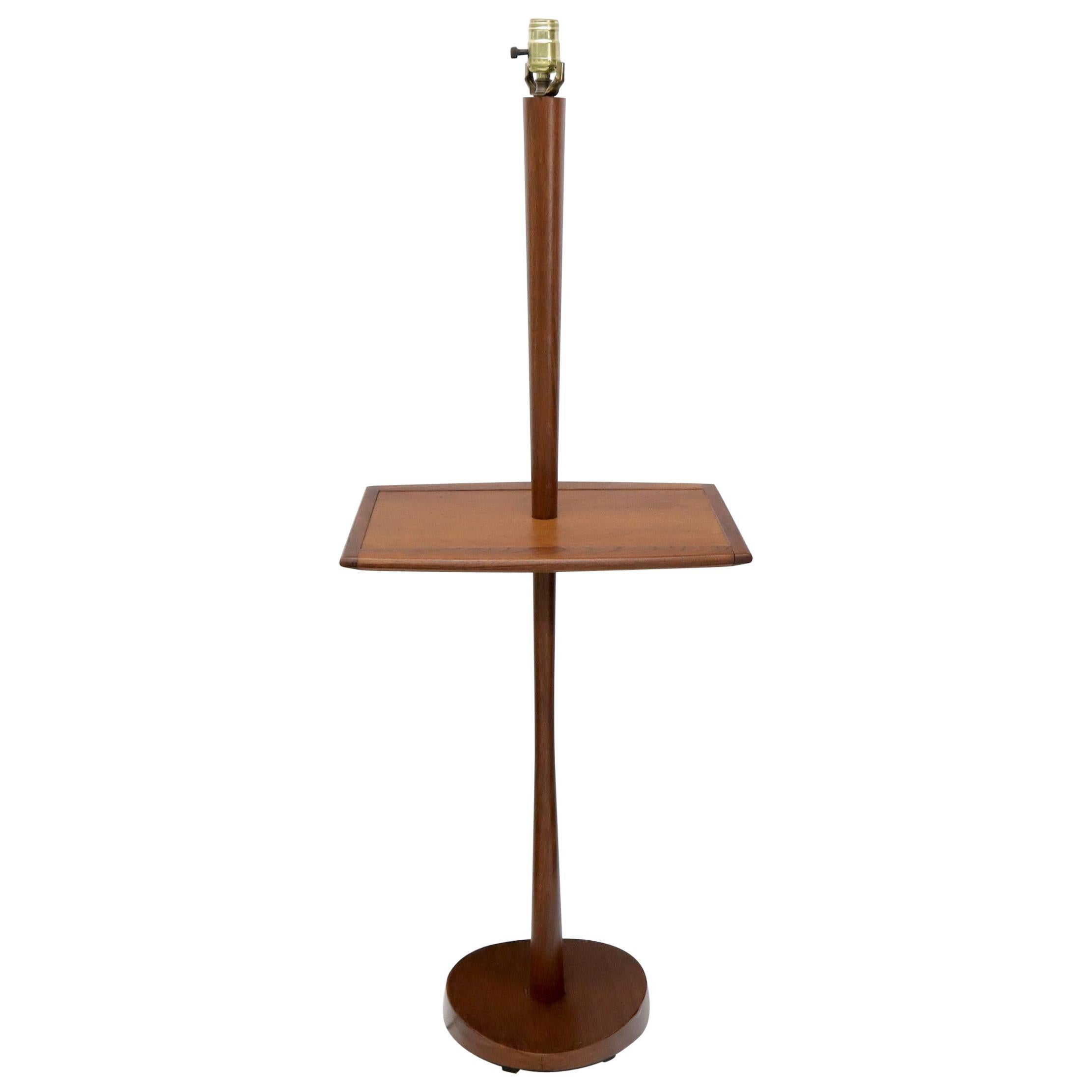 Solid Oiled Walnut End Side Table Tapered Base Floor Lamp