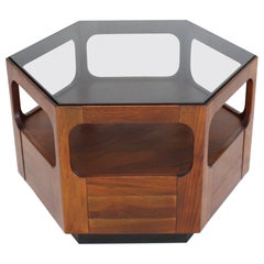 Solid Oiled Walnut Fitted Smoked Glass Top Hexagon Center Side End Table