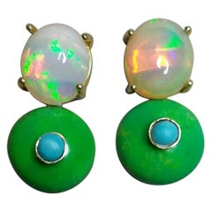 Solid Opal Cabochons Turkmenistan Green Turquoise Blue Turquoise Gold Earrings